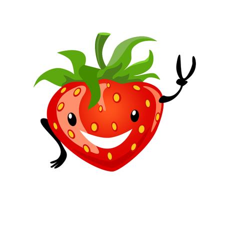 Strawberry cartoon happy Illustration