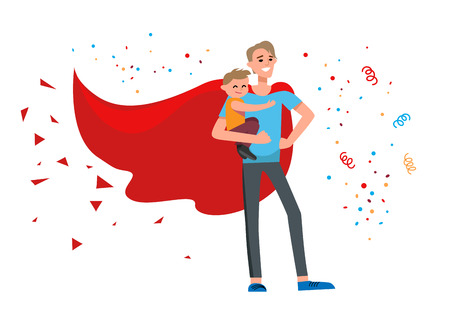 girl: Superhero dad cartoon Illustration