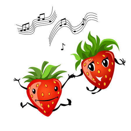 Dancing strawberry cartoon