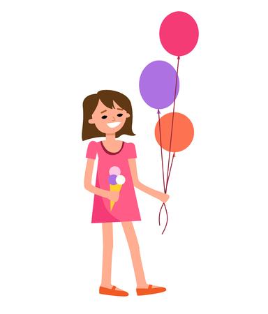 girl: Cartoon character. Girl walks with ice cream and balloons