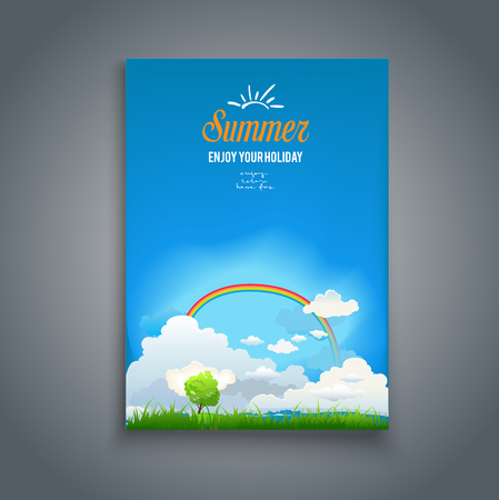 chamomile flower: Follow your dreams view. Nature template with rainbow for design banner, ticket, leaflet, card, poster and so on.