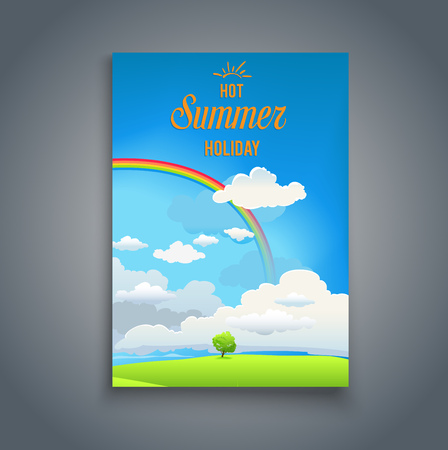 magazine design: Nature template with rainbow for design banner, ticket, leaflet, card and poster