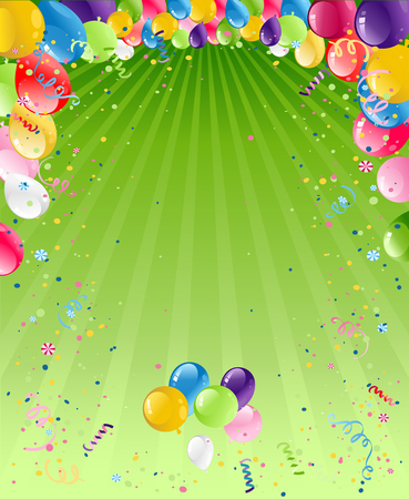Balloons on green card