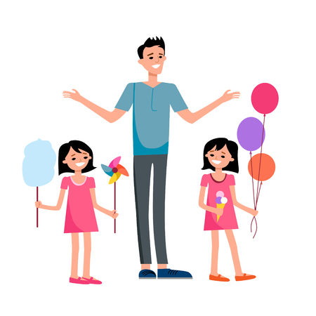 Happy dad and children Illustration
