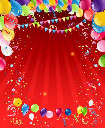 Red bacground mit Luftballons Standard-Bild - 80834386