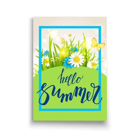 chamomile flower: Summer time template card Illustration