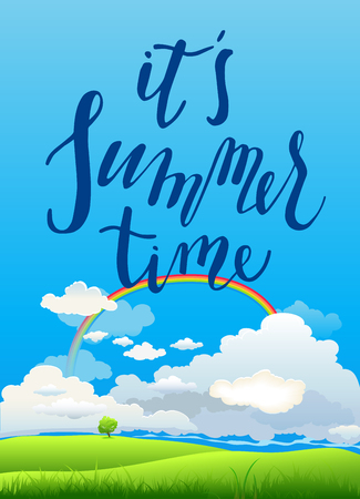 green environment: Summer with rainbow lettering