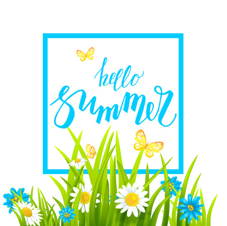 abstract flowers: Summer or spring template for design banner, ticket, leaflet, card, poster and so on. Green grass and flowers scenery.