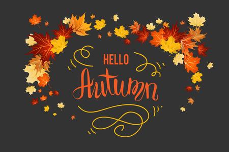 decoration: Fall leaves decoration set for design banner, ticket, leaflet, card, poster and so on. Illustration