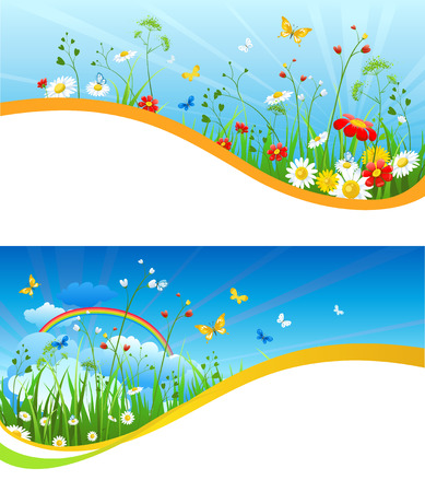 Summer or spring template for design banner, ticket, leaflet, card, poster and so on. Green grass and flowers scenery.