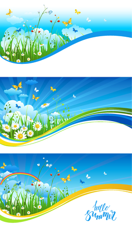 grasslands: Blue sky and clouds banners Illustration