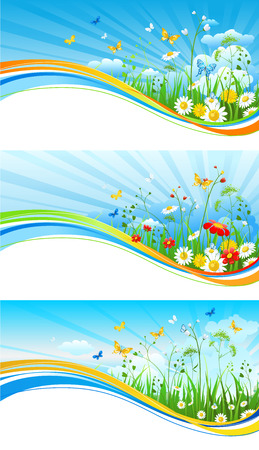 waves: Sky and flowers banners