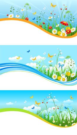 Blue sky banners Illustration