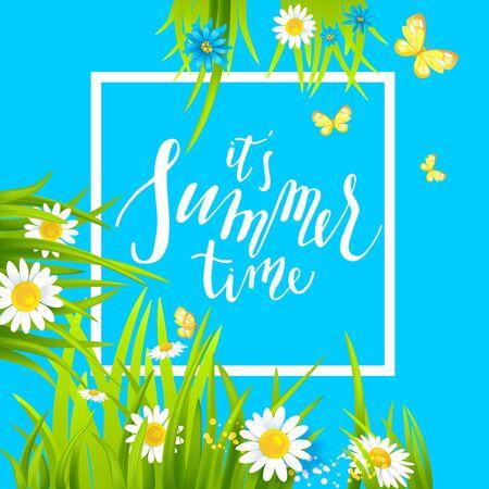 business card template: Summer floral frame