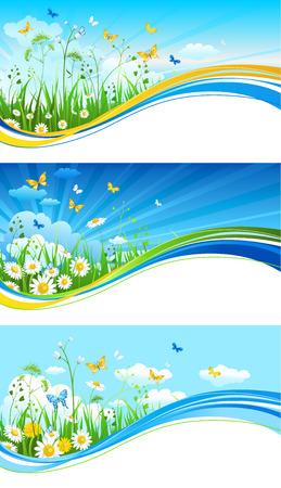 Blue summer banners