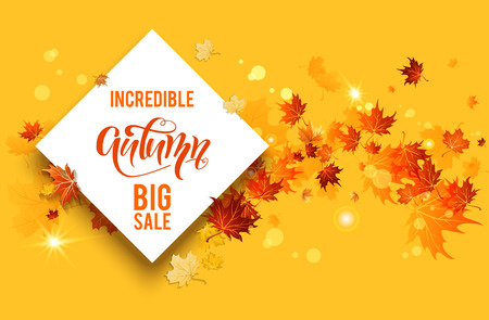 White blank with autumn maple leaves on background. Nature fall template for design banner, ticket, leaflet, card, poster and so on.