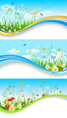 cloud: Blue summer banners set Illustration
