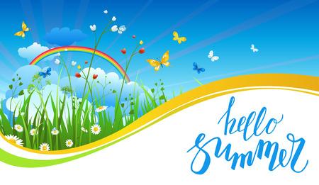 cloud: Rainbow summer banner