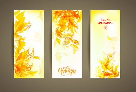 drawings image: Set of autumn cards Illustration
