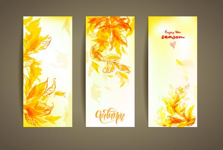 autumn background: Set of autumn cards Illustration