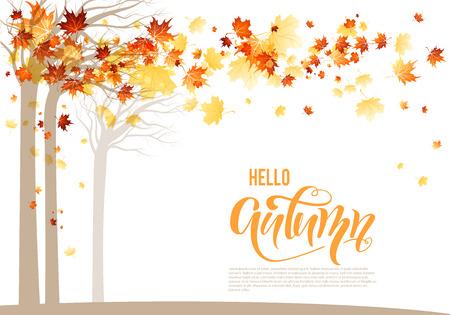 Orange autumn trees banner Illustration
