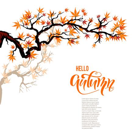 Autumn leaves branch vector illustration. Illustration