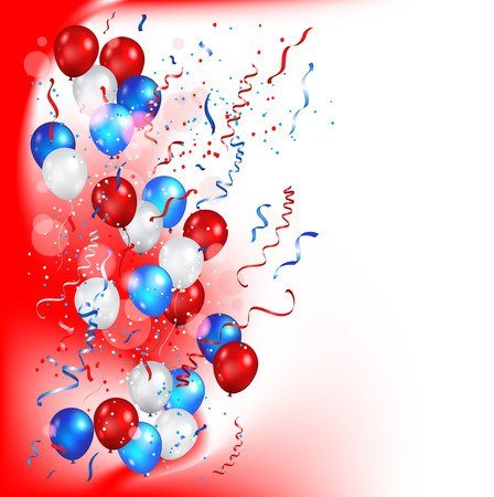 Festive balls on a red background vector illustration.