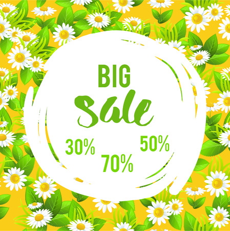 Floral big summer sale vector illustration. Illustration