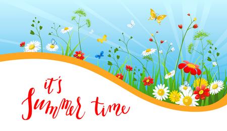 cloud: Floral summer banner vector illustration.