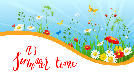 Floral summer banner vector illustration.