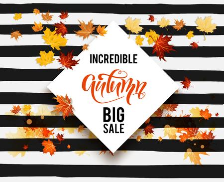 Hello fall sale card vector illustration.