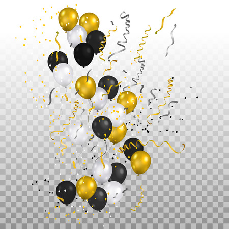 Festive gold balloons and confetti