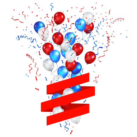 Color holiday balloons in traditional colors - red, white, blue. Holiday balloons with red ribbon. Illustration