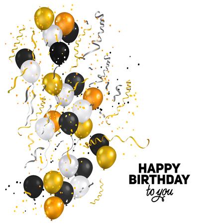 휴일 색 흰색, 금색과 검은 색 풍선. 휴일 풍선 및 콘 페티입니다. 기념일, 축하 또는 파티 장식입니다.