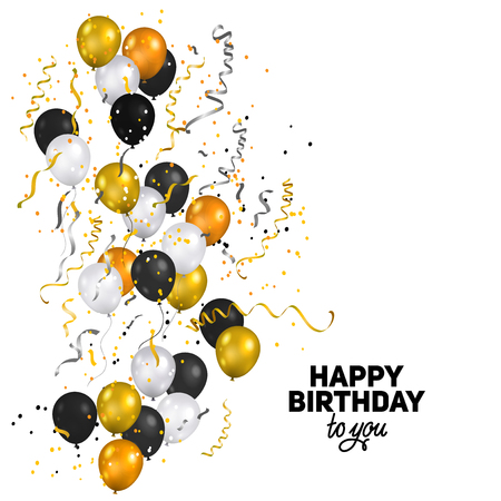 Color holiday white, gold and black balloons. Holiday balloons and confetti. Anniversary, celebration or party decoration. Illustration