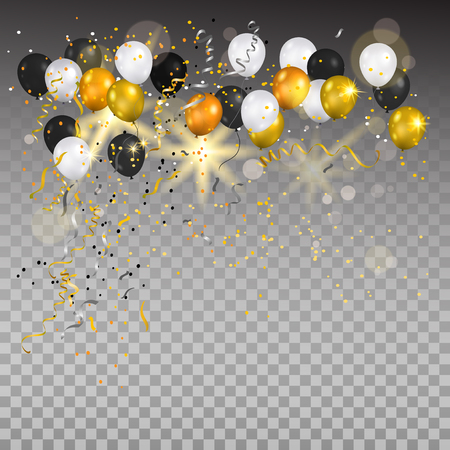 Color holiday white, gold and black balloons. Holiday balloons and confetti on transparent background. Anniversary, celebration or party decoration. Stock Illustratie