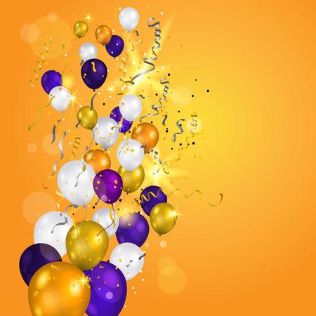 휴일 색 흰색, 금색과 보라색 풍선. 휴일 풍선 및 투명 배경에 색종이. 기념일, 축하 또는 파티 장식입니다.