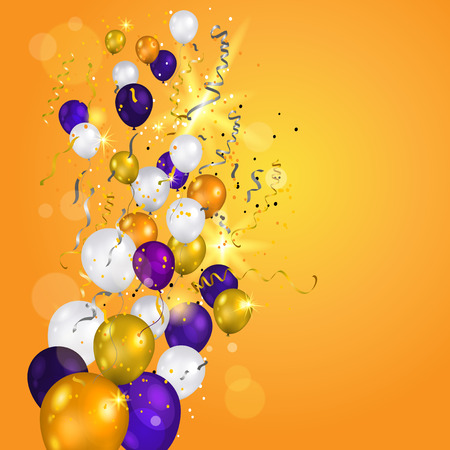 Color holiday white, gold and purple balloons. Holiday balloons and confetti on transparent background. Anniversary, celebration or party decoration.