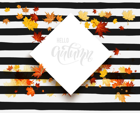 White blank with autumn maple leaves on striped background. Nature fall template for design banner, ticket, leaflet, card, poster and so on. Hello fall striped card Illustration