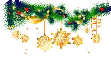 クリスマスのデザインのバナー、チケット、招待状、カード、リーフレットなどのお祭り飾り。トウヒと休日の装飾  イラスト・ベクター素材