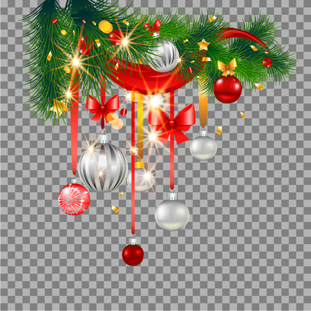 frame: Christmas festive ornament on transparent background for design banner, ticket, invitation or card, leaflet and so on. Holiday decorations with spruce tree Illustration