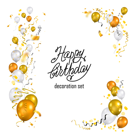 Gold and white balloons set Ilustrace