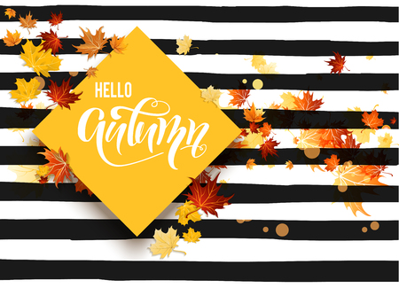 rusty background: Hello fall striped card
