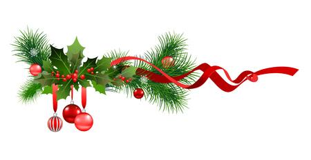 Winter Christmas fir tree decoration Illustration