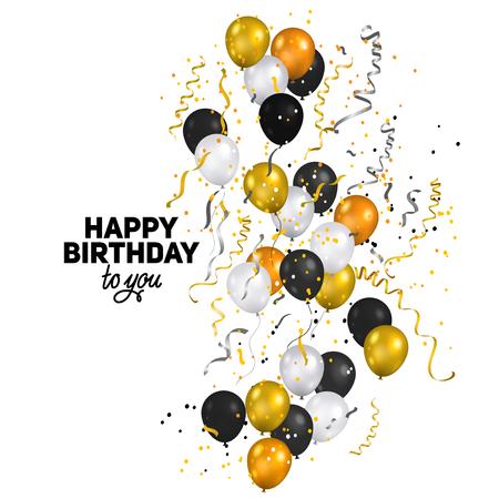 Ballons and confetti - Happy birthday Illustration
