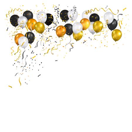 black: Serpentine, balloons and confetti
