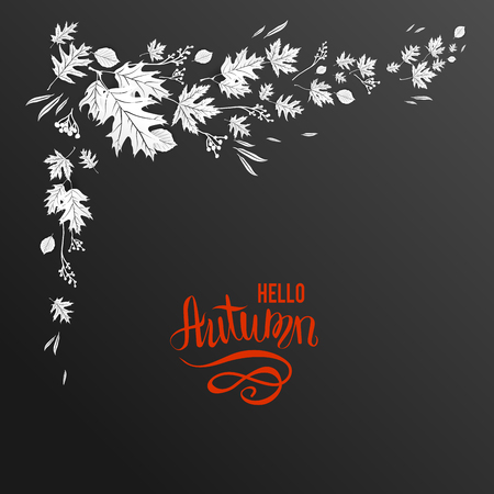 layout: Black background and leaves decor