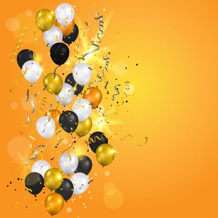 christmas backdrop: Gold and white balloons elements