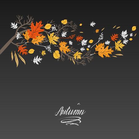 Sfondo scuro e foglie decorazione Vettoriali