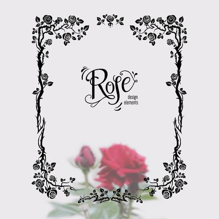 Silhouette grafica di rose per decorazioni di festa, matrimonio, anniversario, festa, compleanno. Per invito, biglietto, opuscolo, banner, poster e così via. Fiori floreali fioriscono elementi di design Archivio Fotografico - 86204751